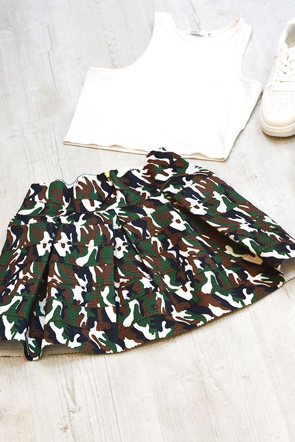 Camo Mini Skater Skirt