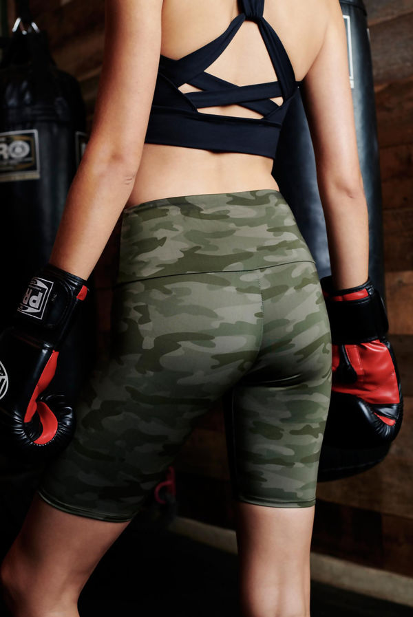 Camo Print Sculpt Cycling Shorts