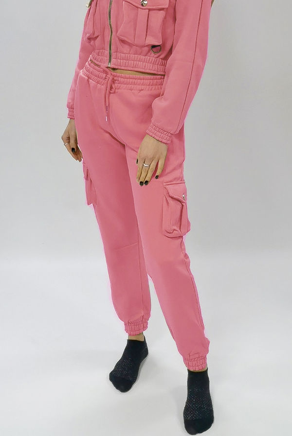 Candy Pink Cargo Pocket Joggers