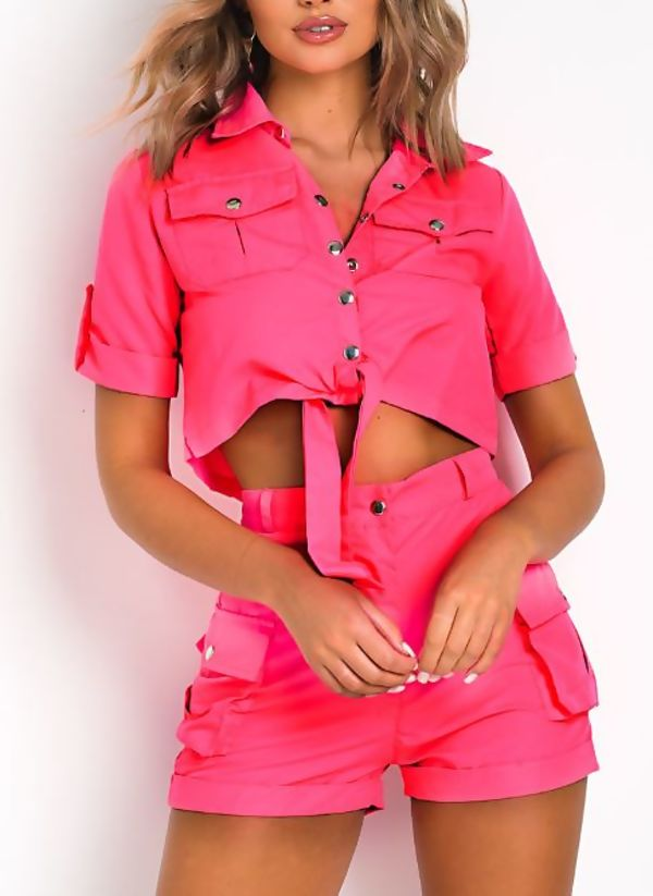 Neon Pink Cargo Shorts and Shirt Set