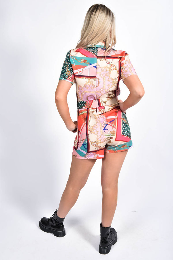 Chain Printed Button Up Belted Playsuit