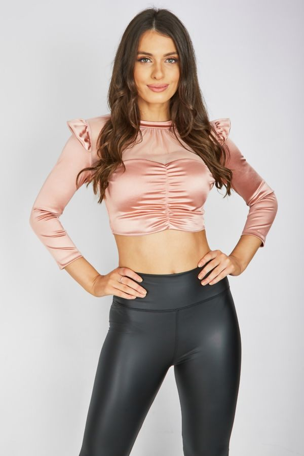 Champagne Satin Ruched Top