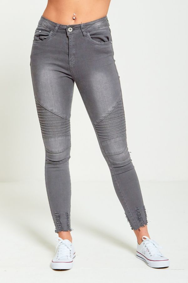Charcoal Biker Ribbed Skinny Fit Jeans