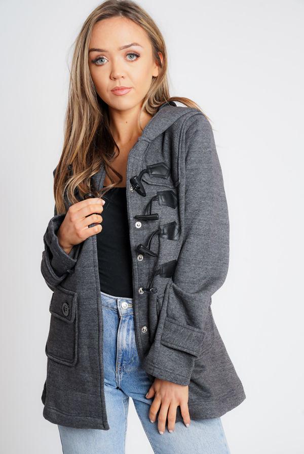 Charcoal Fleece Hooded Toggle Jacket