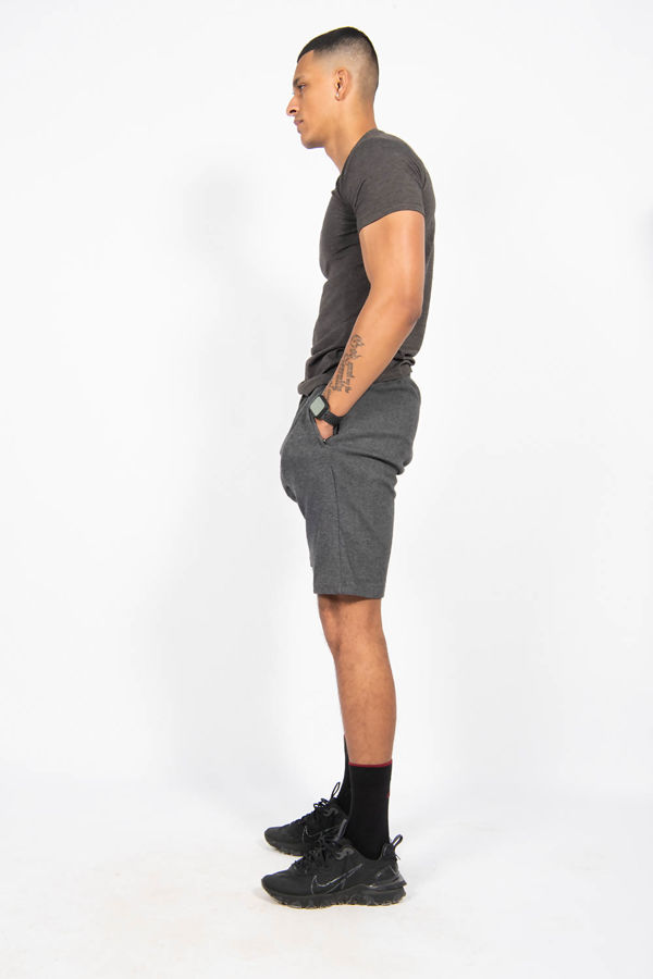Charcoal Muscle Fit Zip Pocket Shorts Set
