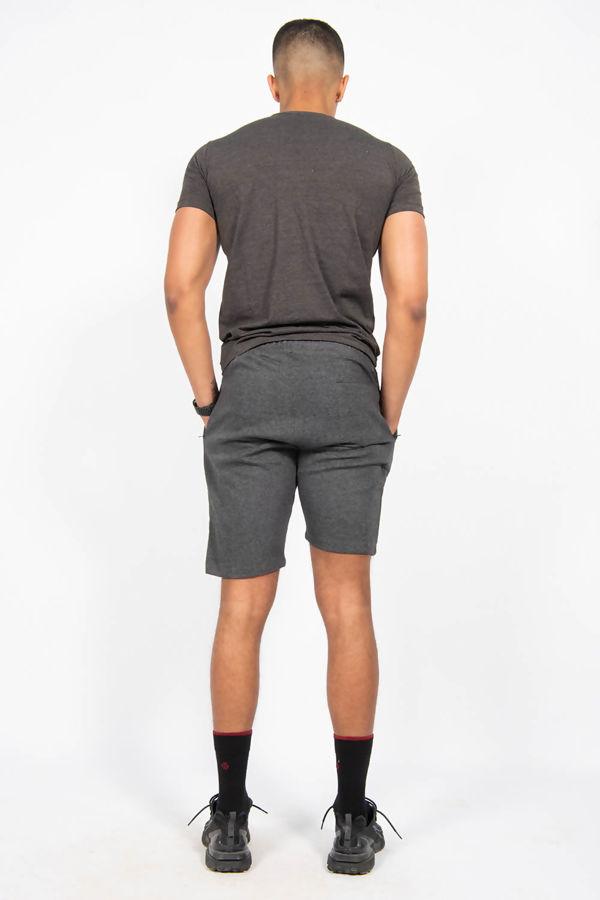 Black Muscle Fit Zip Pocket Shorts Set