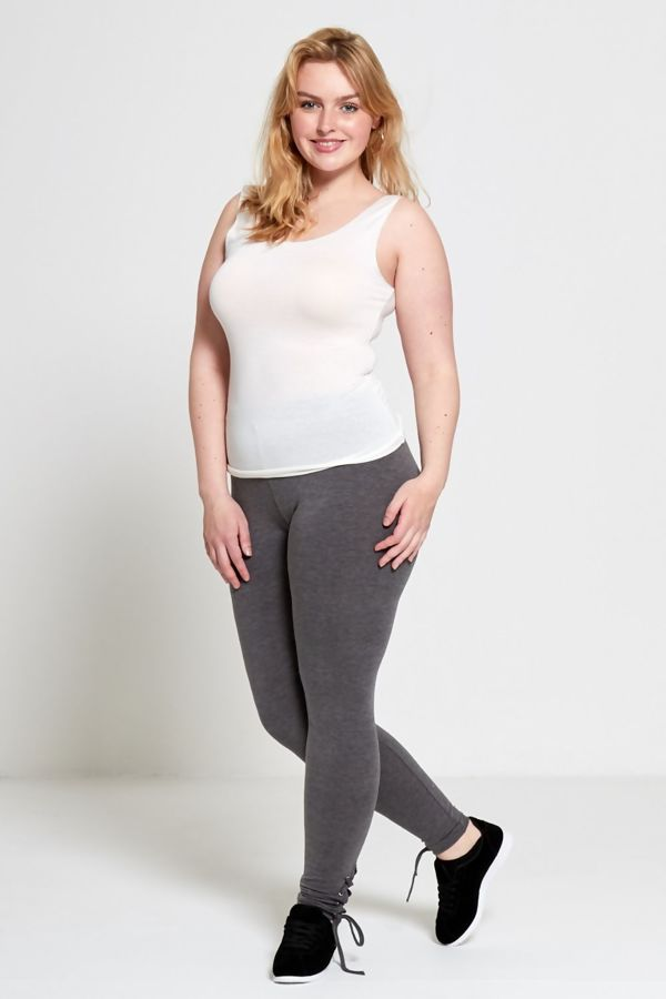 Charcoal Plus Size Curve Eyelet Lace-Up Hem Leggings