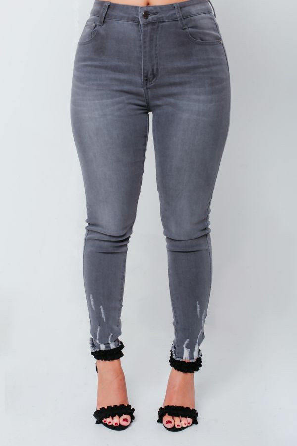 Charcoal Skinny Hem Jeans