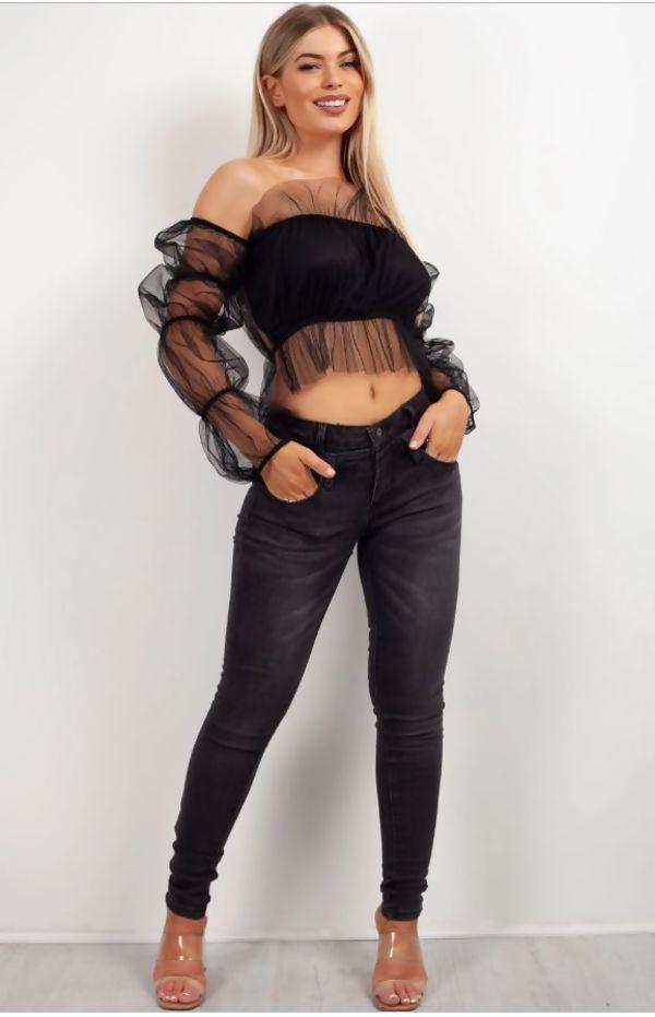 Charcoal Zipper Skinny Jeans