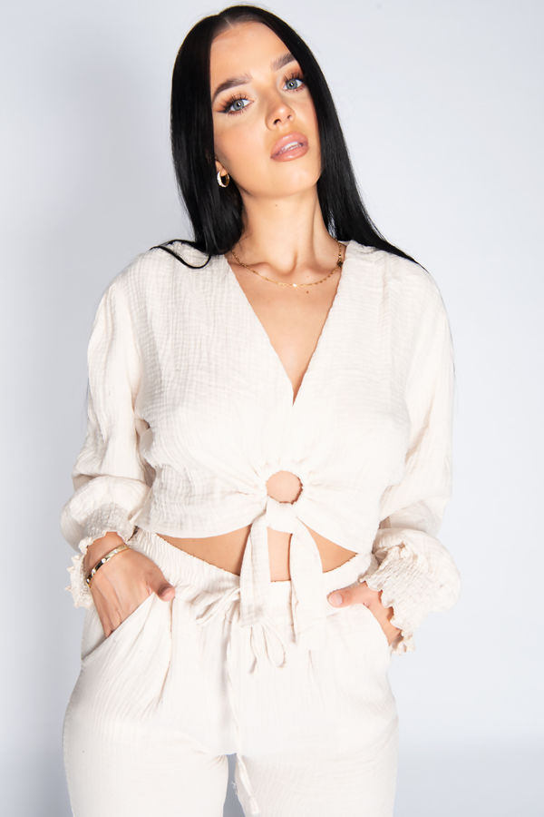 Cheesecloth Ring Front Tie Blouse Top And Joggers Co-Ord Set