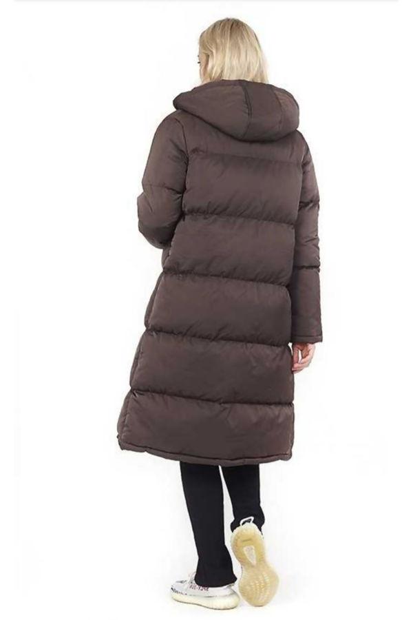 Chocolate Longline Hooded Puffer Coat Pre Order