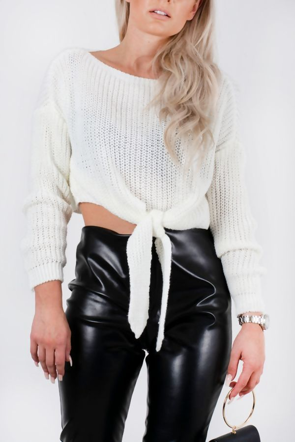 Cream Chunky Knit Tie Front Jumper