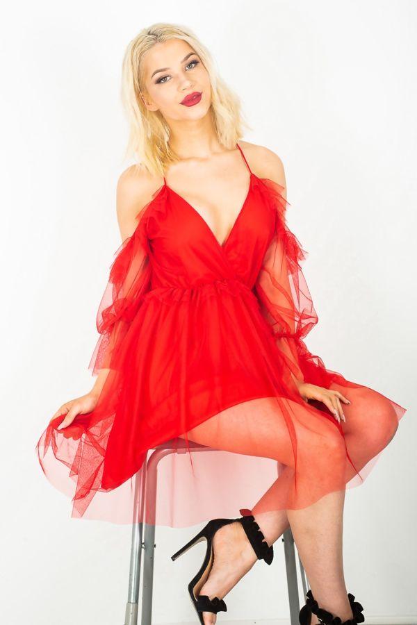 Cold Shoulder Lace Mesh Flounce Dress