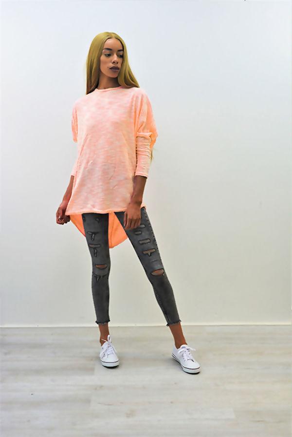 Dusty Pink Patterned Dip Hem Batwing Top