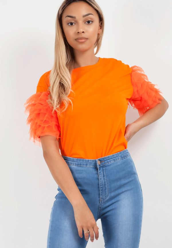 Coral Tulle Tee Top