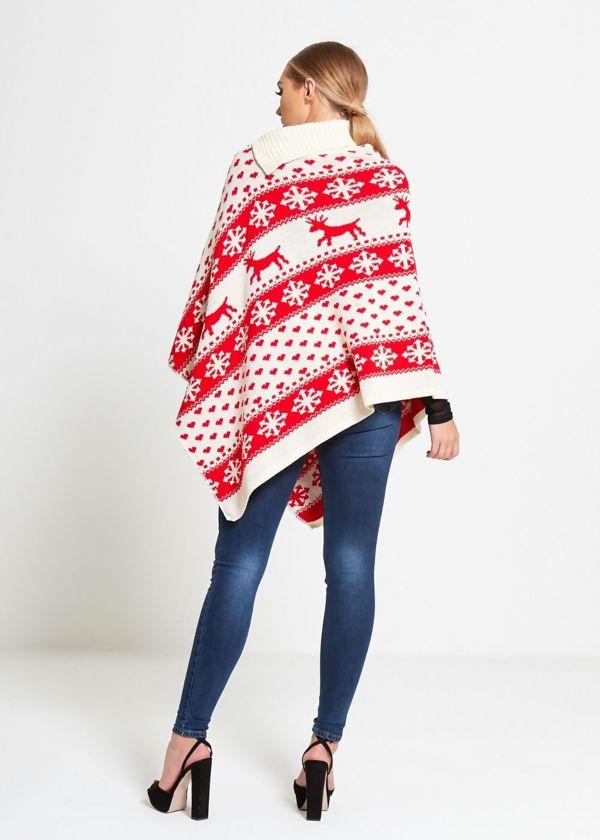 Cream Christmas Reindeer Poncho