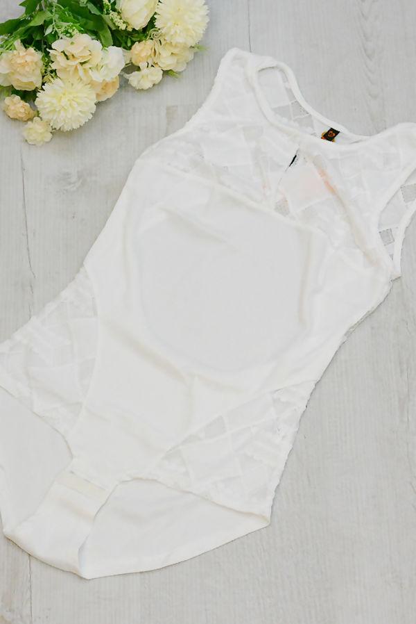 Cream Cut Out Back Lace Up Bodysuit