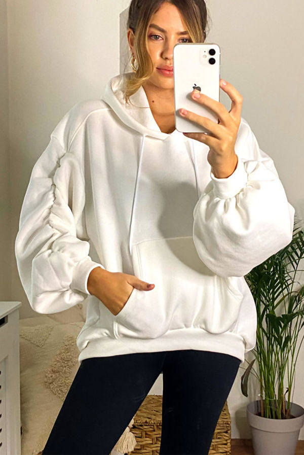 Cream Oversized Ruched Sleeve Hoodie