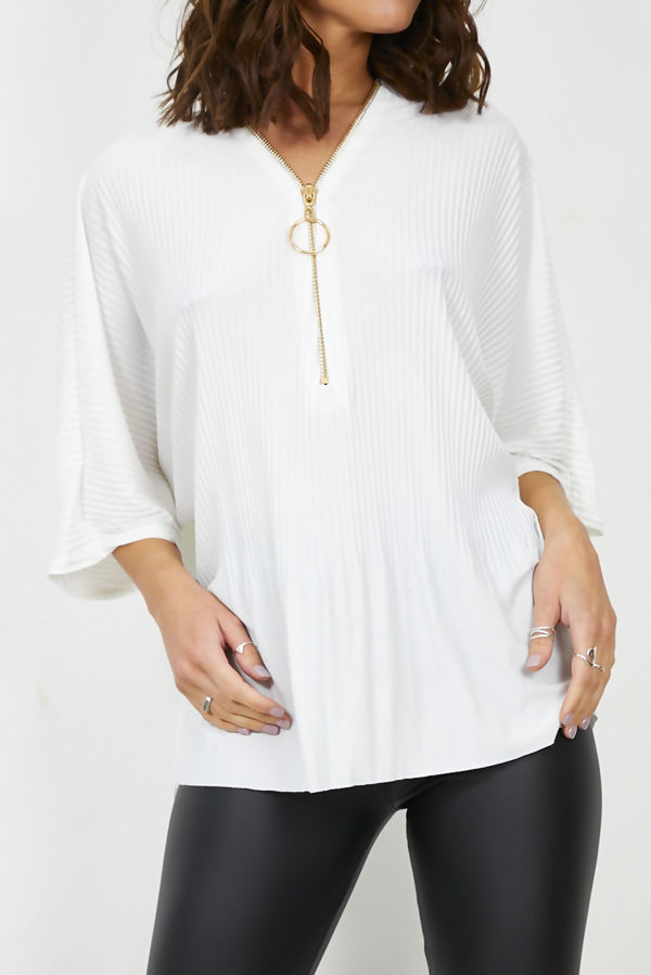Cream Pleated Ring Zipper Swing Top