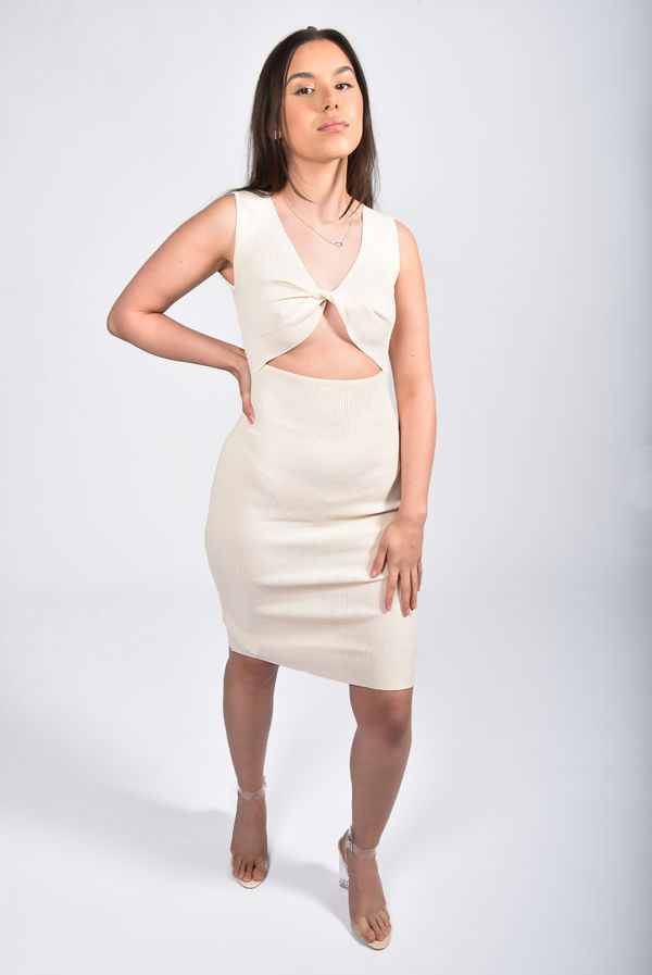 Cream Ribbed Cut Out Twist Front Dress