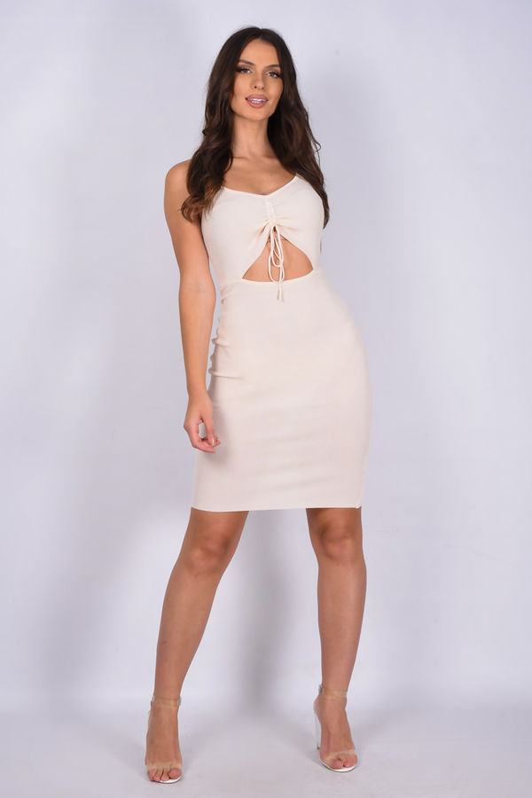 Cream Ruched Front Cut Out Ribbed Bodycon Dress