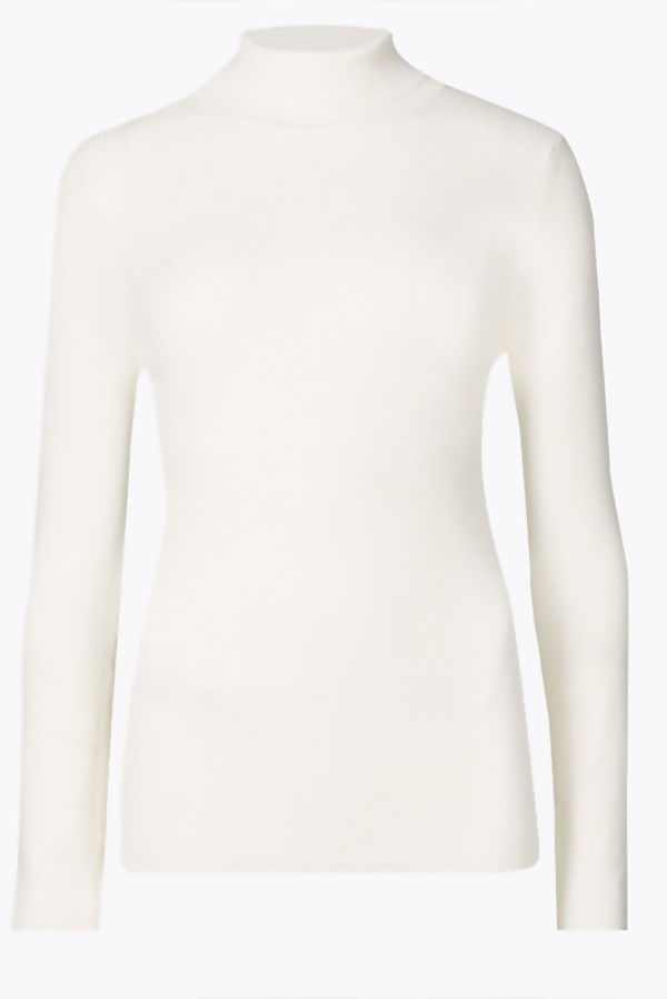 Cream Turtle Neck Ribbed Top