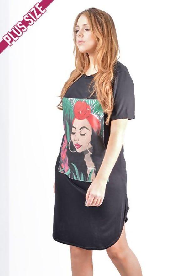 Plus Size Khaki Tropical Girl Printed T-Shirt Dress