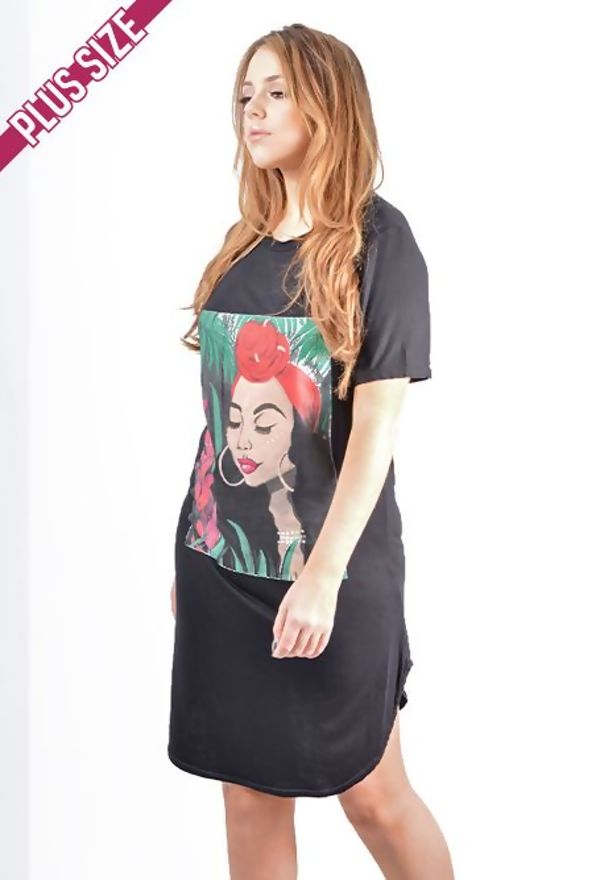Plus Size Neon Pink Tropical Girl Printed T-Shirt Dress