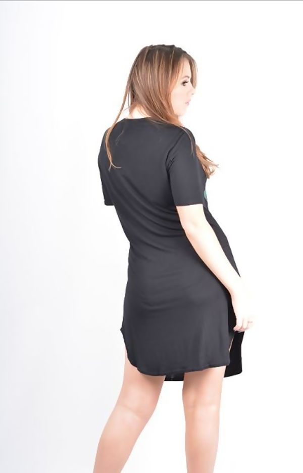 Plus Size Navy Tropical Girl Printed T-Shirt Dress