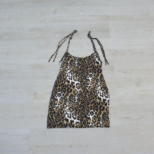 Leopard Print Bodycon Pinafore Dress