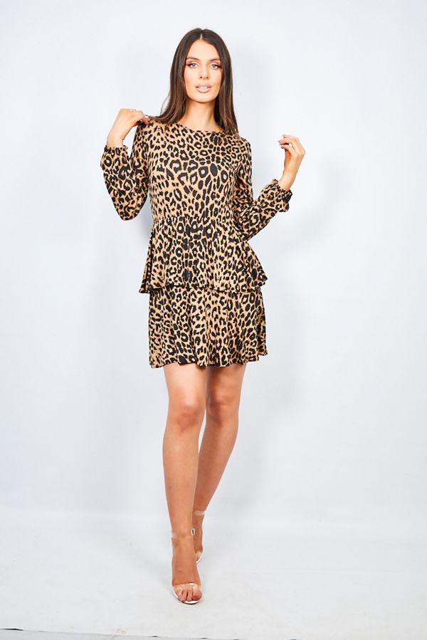 Brown Leopard Print Layered Frill Smock Dress