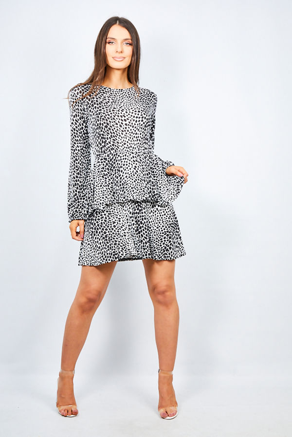 Black Leopard Print Layered Frill Smock Dress