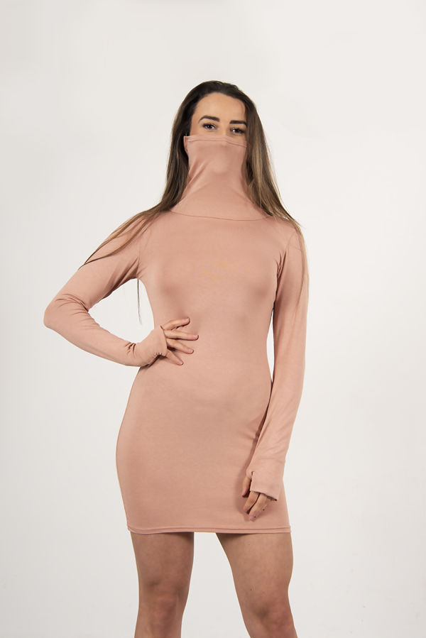 Rose Pink Jersey Long Sleeve Mask Bodycon Dress