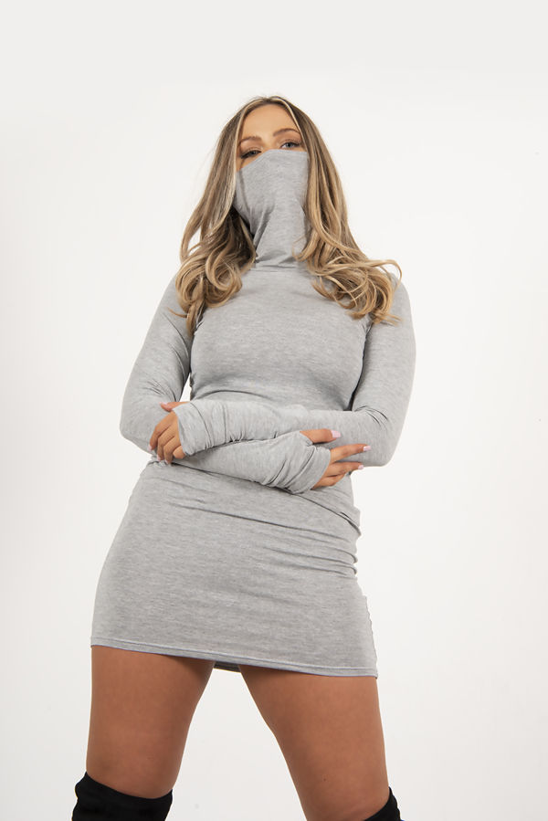 Grey Jersey Long Sleeve Mask Bodycon Dress