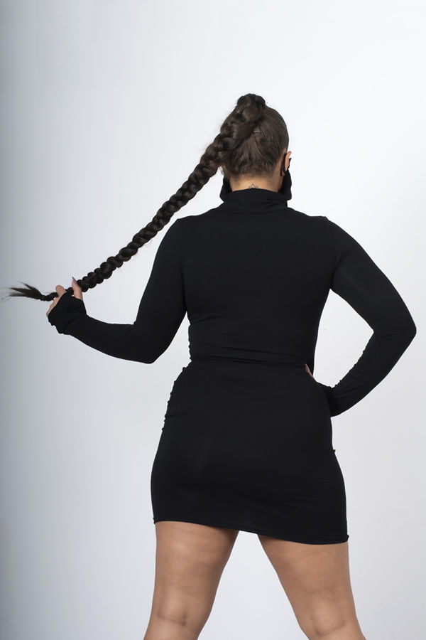 Black Jersey Long Sleeve Mask Bodycon Dress