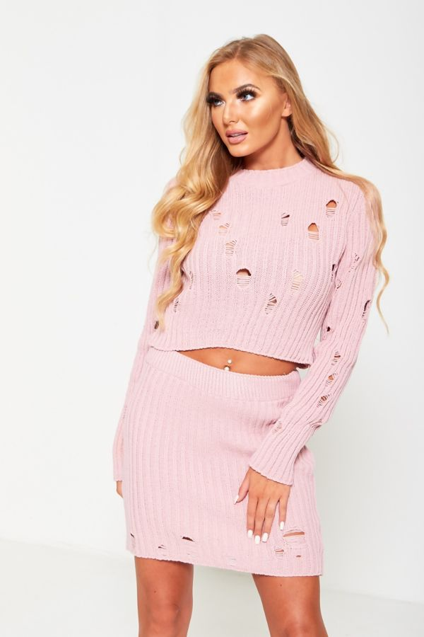 Pink Distressed Knitted Co-Ord