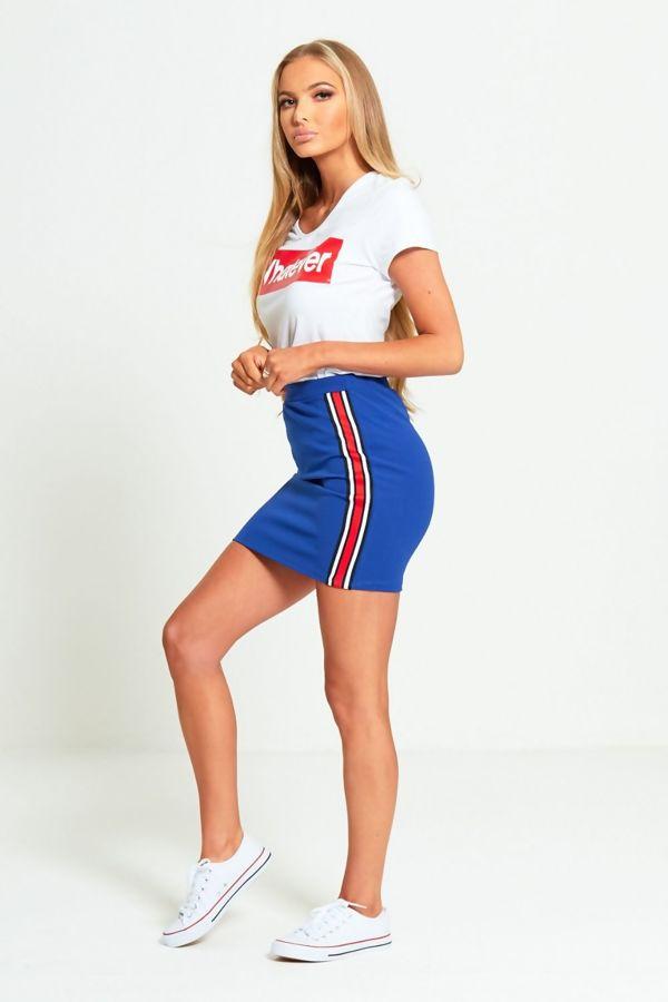 Daisy Side Stripe Mini Skirt