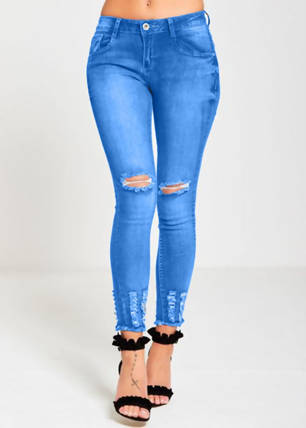 Dark Blue Knee Ripped Skinny Hem Jeans