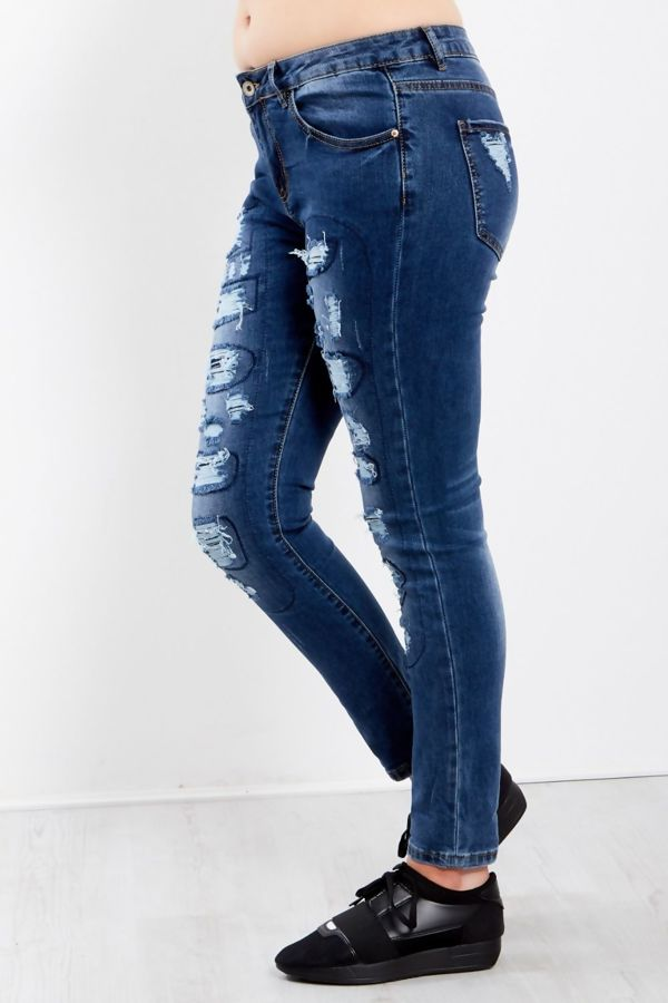Dark Denim Extreme Ripped Frayed Jeans