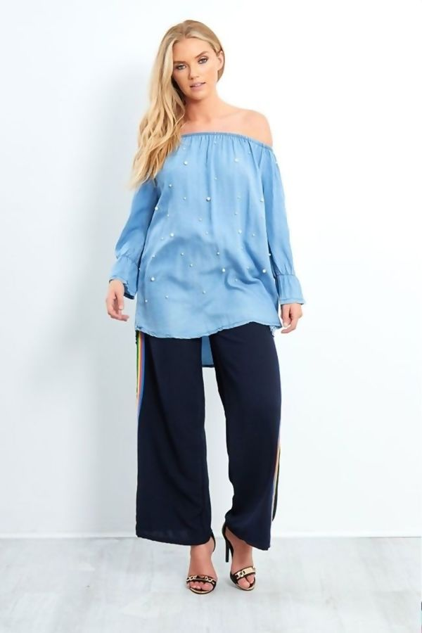 Dark Denim Pearl Detail Off Shoulder Bardot Top