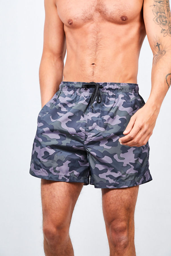 Dark Grey Camo Printed Swim Shorts