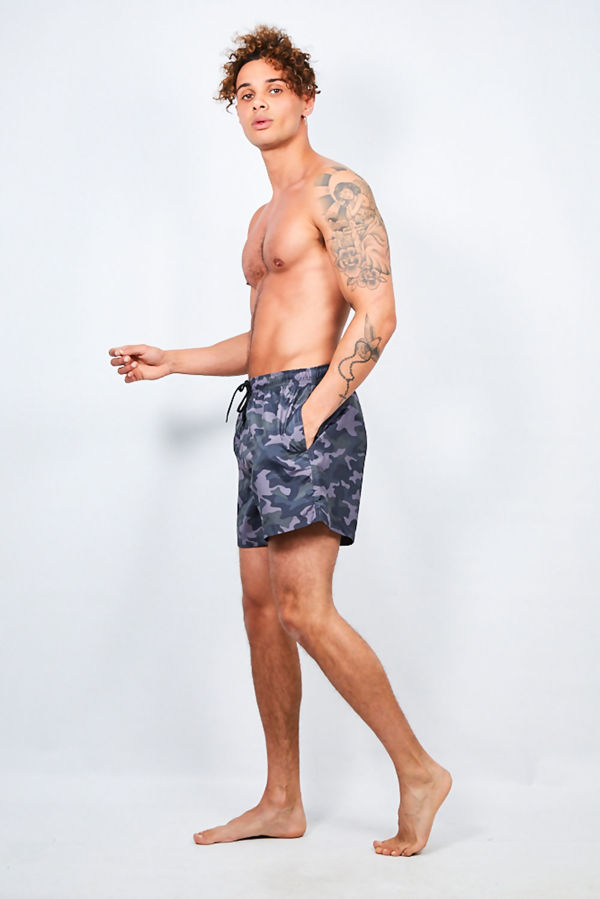 Dark Grey Camo Printed Swim Shorts