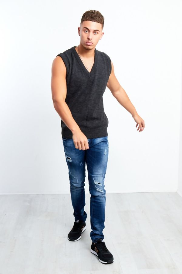 Dark Grey V-Neck Sleeveless Knitted Jumper