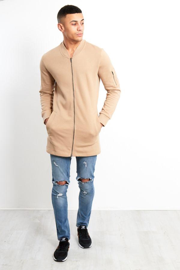 Beige Zip Detail Longline Cardigan