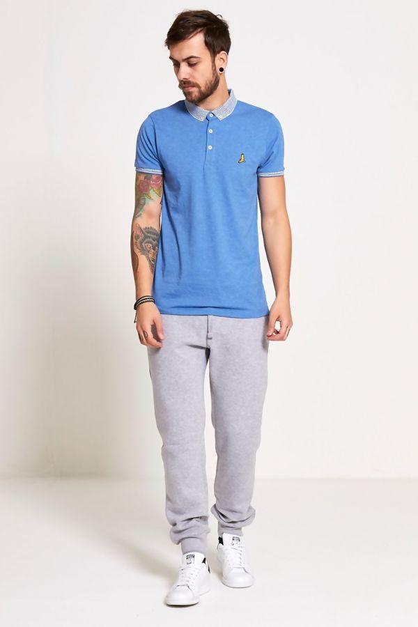 Denim Aztec Collar Polo T-Shirt