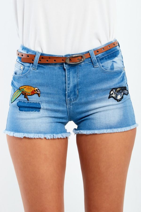 Denim Bird Embroidery Frayed Hem Shorts