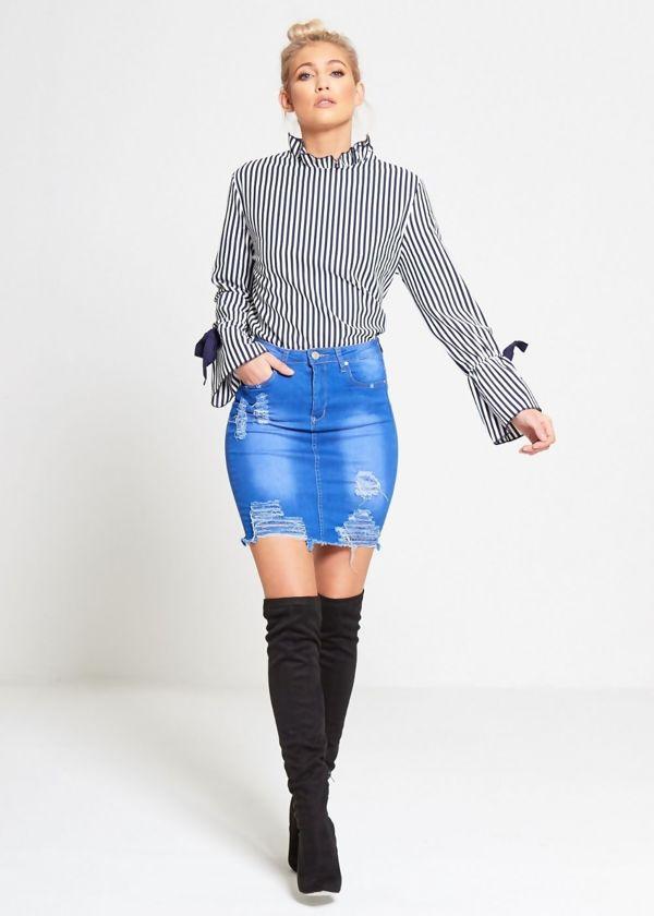 Denim Blue Distressed Mini Skirt