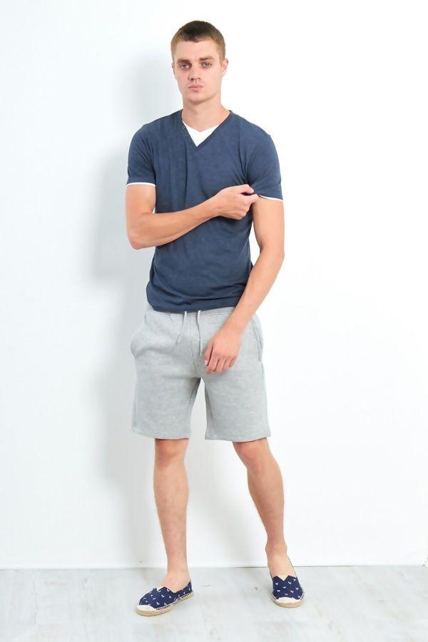 Denim Button Detail V-Neck T-Shirt