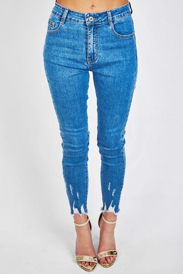 Denim Frayed Hem Jeans