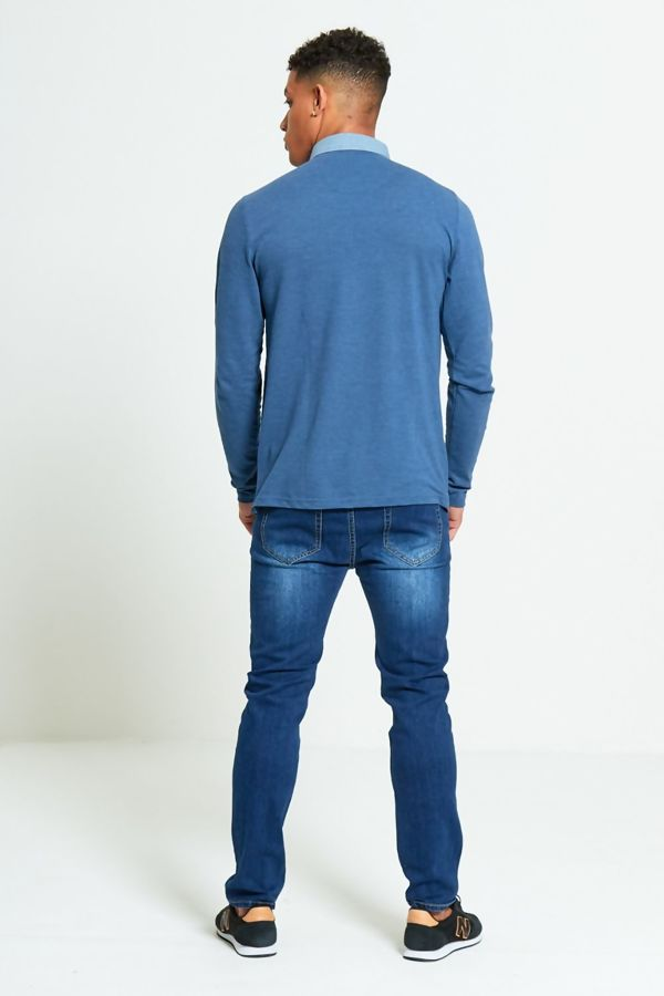 Denim Long Sleeve Welt Polo T-Shirt